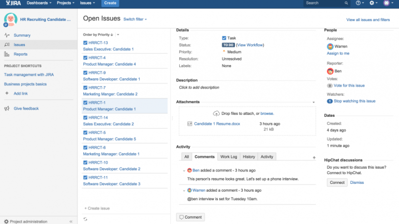 JIRA Core for HR