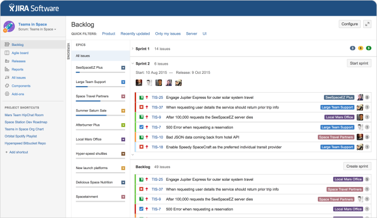 JIRA Software Backlog